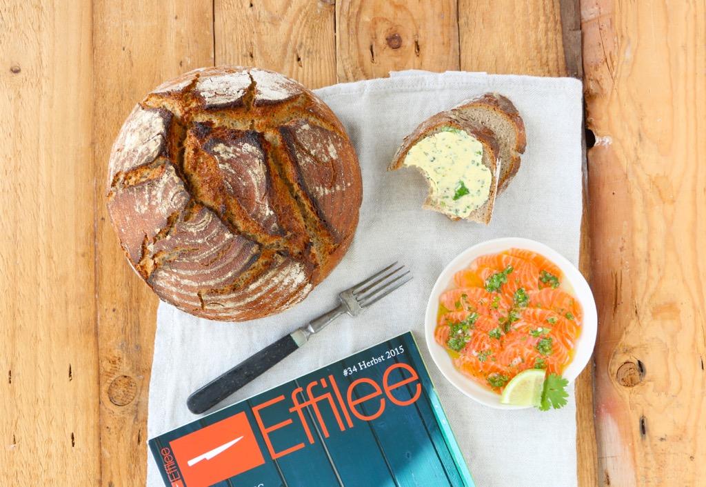 Gewürzbrot aus Roggensauerteig und mein marinierter Lachs mit luftiger Limettenbutter in der aktuellen Effilee